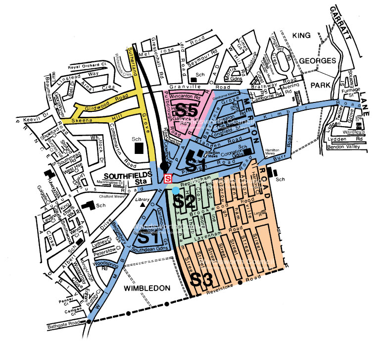 Southfields Controlled Parking Zone Map