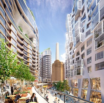 Artists impression of Nine Elms on the South Bank shopping area